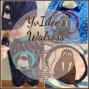 Applikationsvorlage YvIdee's Walross mit Schnittteilen und Bildanleitung