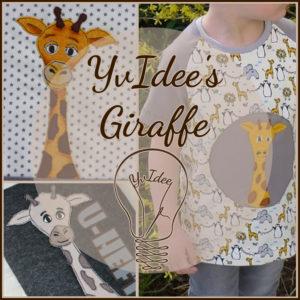 YvIdee's Giraffe ist eine niegliche Applikationsvorlage für eine Giraffe die aus dem Rand einer Stoffteilung hervorschaut