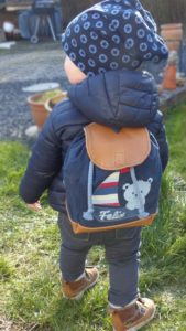 Der erste Rucksack für Felix Kindergartenstart selbst genäht.