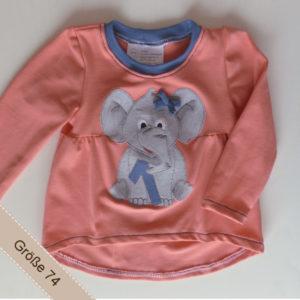 Geburtstagsshirt für Mädchen mit Elefantenapplikation und 1.