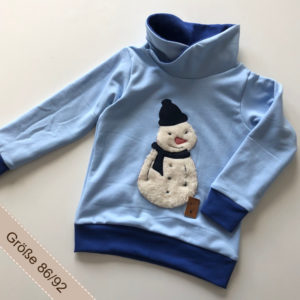 Handgemachter Pullover mit Schneemannapplikation